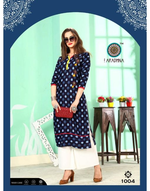 Rs 345 Pc Aradhna Fashion Kiwi Vol 2 Stitched Kurti Wholesale Catalog 08 pcs