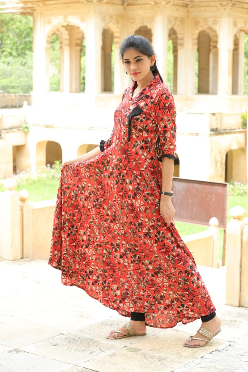 Rayon Printed Designer Wear Floor Length Kurti