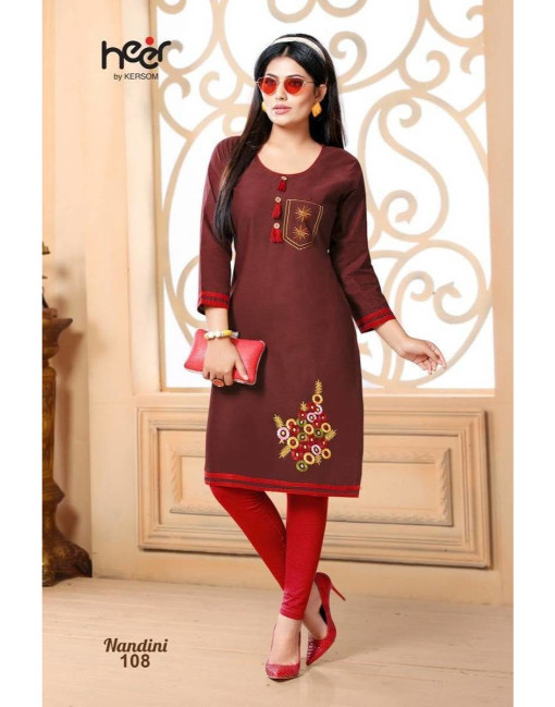 Rs 266 Piece - Nandini by Heer Kersom Stitched kurti Wholesale Catalog 08 pcs