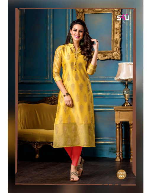 Rs 560 Piece - S4U Gold Stitched Kurti Wholesale Catalog 10 pcs