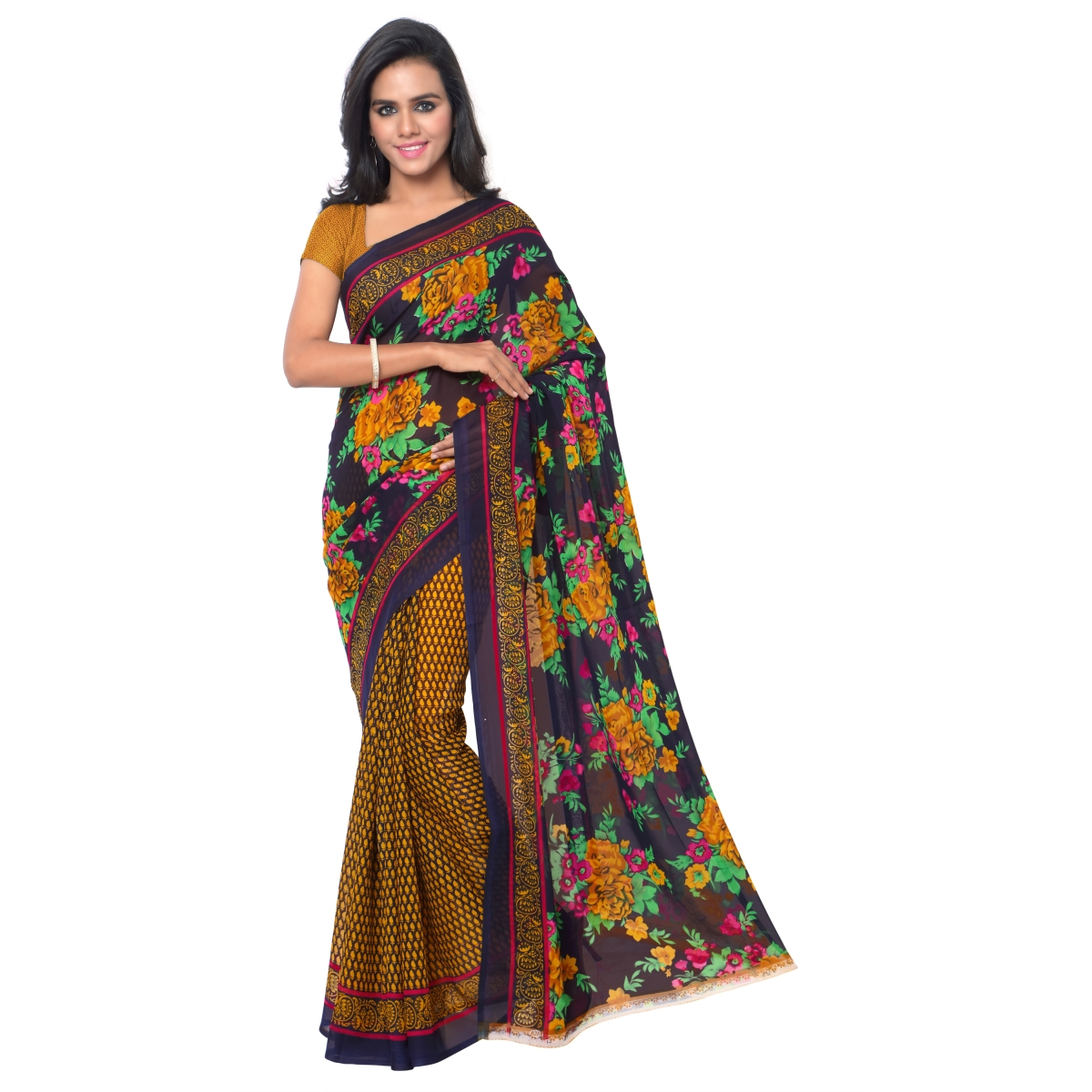 Brown Faux Georgette Everyday Wear Printed Saree