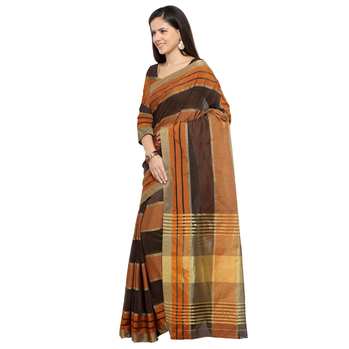 Brown Art Silk Everyday Wear Woven Saree