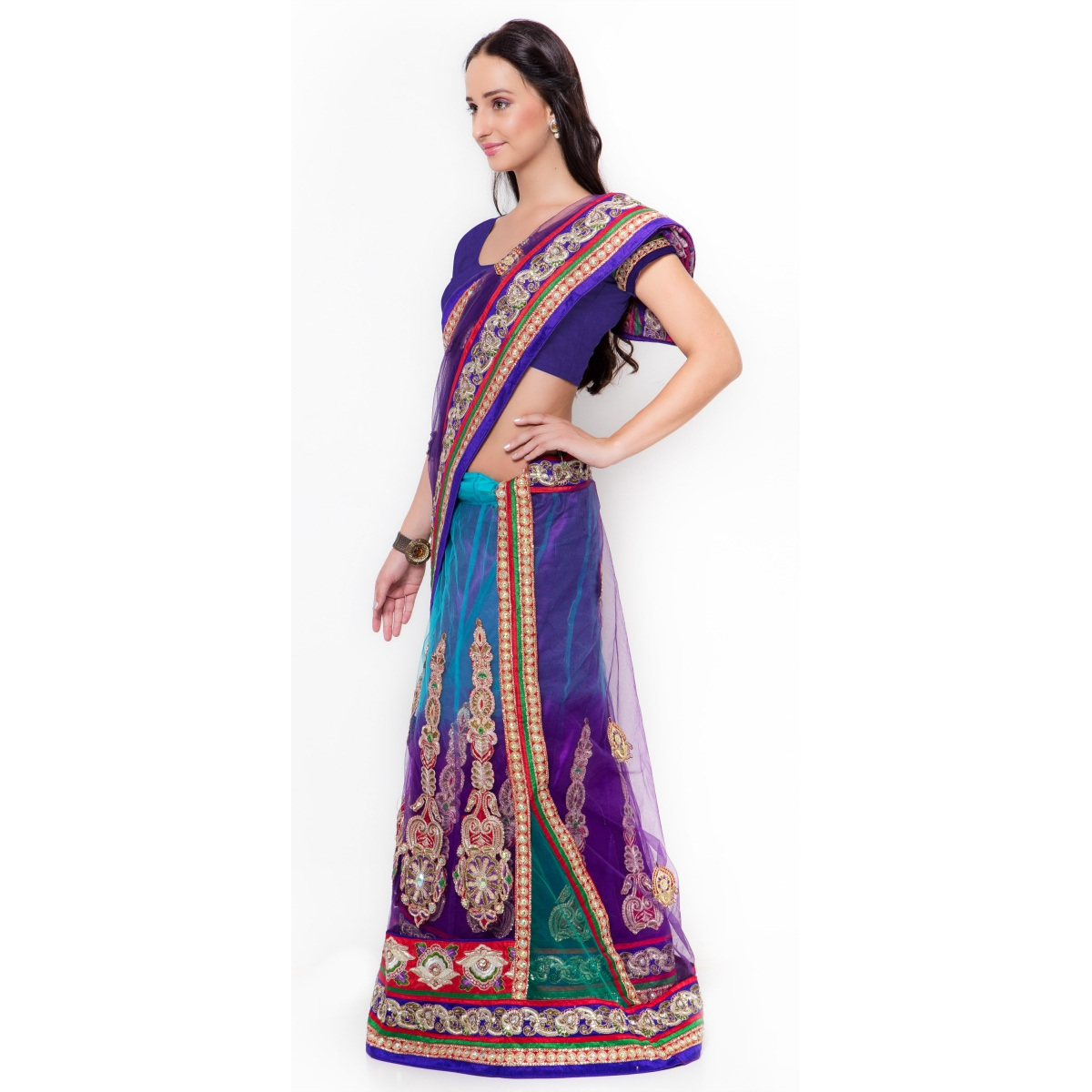 Purple Jute Silk Wedding Embroidered Saree
