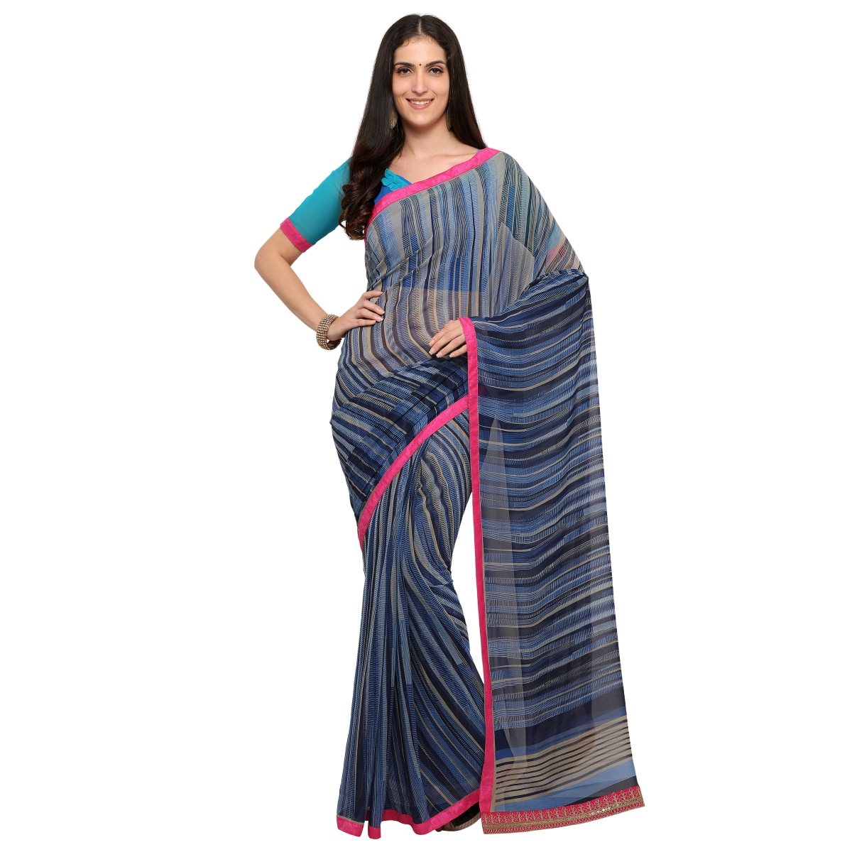 Blue Faux Georgette Everyday Wear Printed Saree.