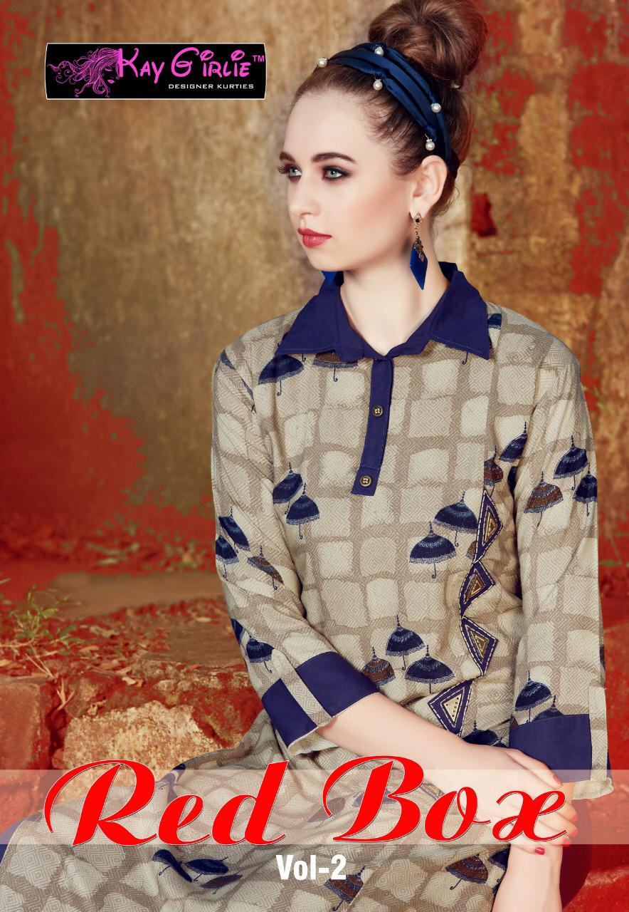Rs 485 Piece – Kay Girliee Red Box Vol 2 Stitched Kurti Wholesale Catalog 09 pcs