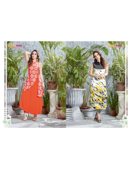 Rs 499 Pc Tips & Tops Joyna Stitched Kurti Wholesale Catalog 12 pcs